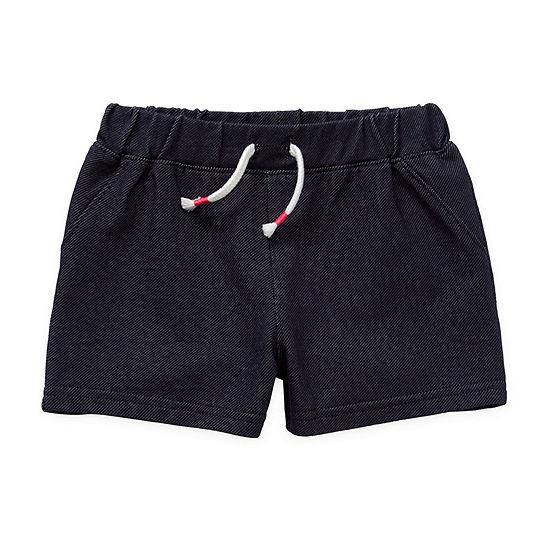 Okie Dokie Knit Denim Baby Girls Pull-On Short
