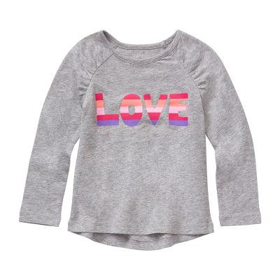 Okie Dokie Toddler Girls Round Neck Long Sleeve Graphic T-Shirt
