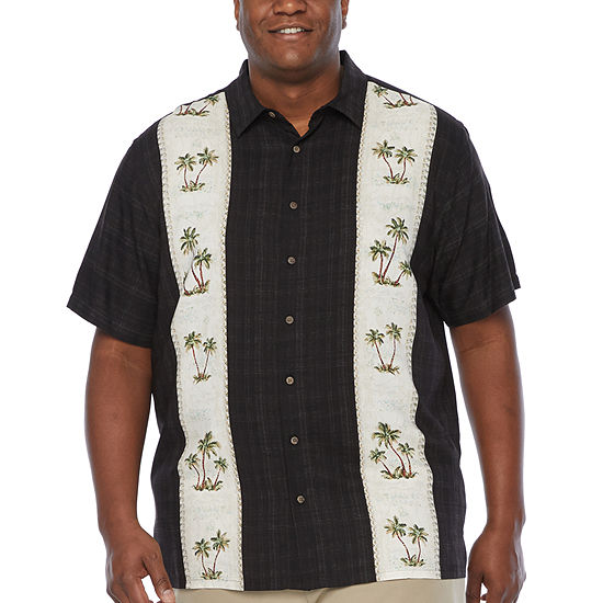 Campia Big and Tall Tropical Rayon Prints Mens Short Sleeve Button-Down Shirt