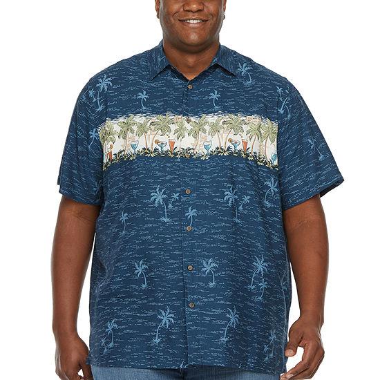 Campia Big and Tall Campia Tropical Rayon Prints Mens Short Sleeve Button-Front Shirt