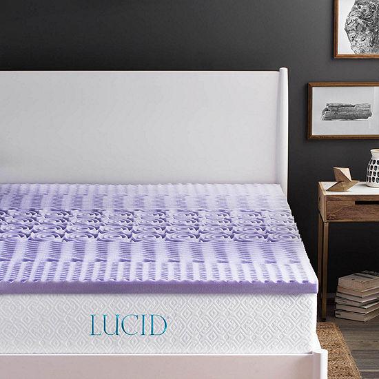 Lucid 2 Inch 5-Zoned Lavender Memory Foam Mattress Topper