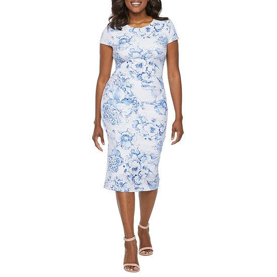 Premier Amour Short Sleeve Floral Sheath Dress