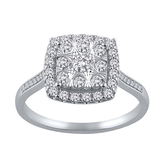 Diamond Blossom Womens 1/2 CT. T.W. Genuine Diamond 10K White Gold Cocktail Ring
