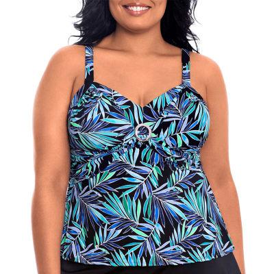 St. John's Bay Leaf Tankini Swimsuit Top Plus