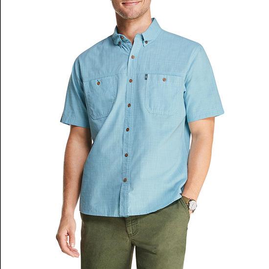 G.H. Bass & Co. Mens Button Down Collar Short Sleeve Cooling Button-Front Shirt