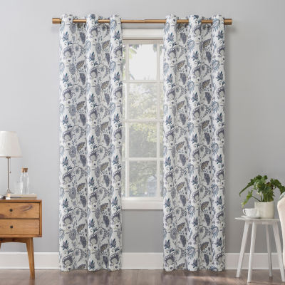 No 918 Valerie Vanna Floral Light-Filtering Grommet-Top Single Curtain Panel
