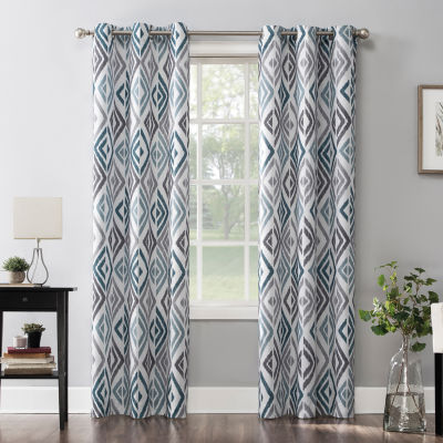 No 918 Valerie Amadi Ikat Geometric Light-Filtering Grommet-Top Curtain Panel