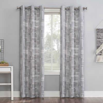 No 918 Valerie Parlor Geometric Light-Filtering Grommet-Top Curtain Panel
