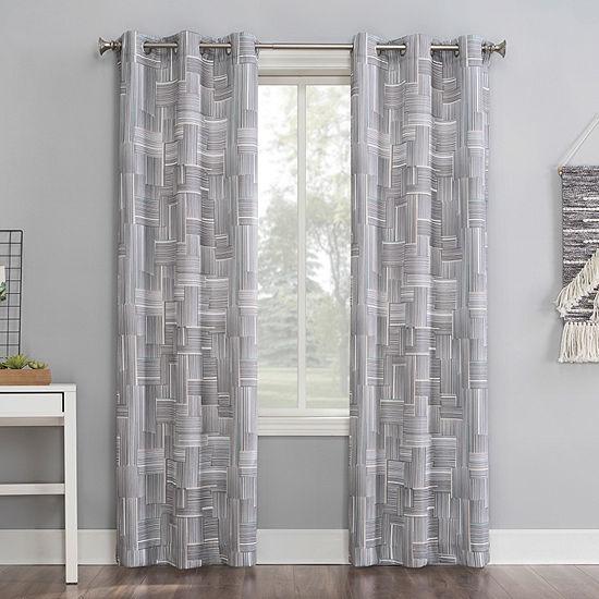 No 918 Valerie Parlor Geometric Light-Filtering Grommet-Top Single Curtain Panel