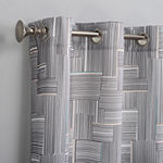 No 918 Valerie Parlor Geometric Light-Filtering Grommet-Top Single Curtain Panel