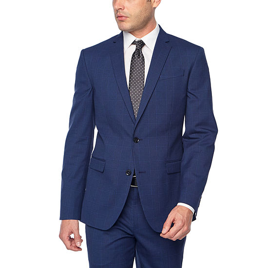 JF J. Ferrar Bright Blue Plaid Slim Fit Stretch Suit Separates