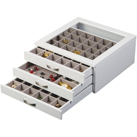 Mele & Co. Liza Glass Top White Jewelry Box, One Size , White