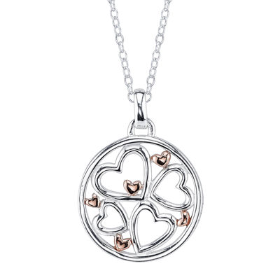 Footnotes® Sterling Silver with Rose-Tone Flash Gold Plating Family Pendant Necklace