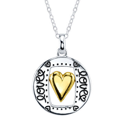 Footnotes® Sterling Silver with Yellow-Tone Flash Gold Plating Love Pendant Necklace