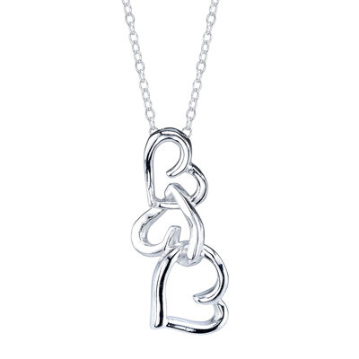Footnotes® Sterling Silver Openwork Triple-Heart Pendant Necklace