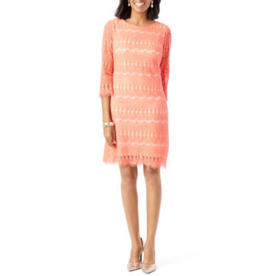 Ronni Nicole 3/4 Sleeve Lace Pattern Shift Dress