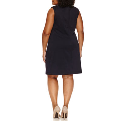 Sharagano Sleeveless Laceup Sheath Dress-Plus
