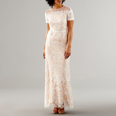 Melrose Short Sleeve Lace Wedding Gown
