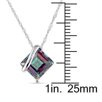 Square Genuine Green Topaz 10K White Gold Pendant Necklace