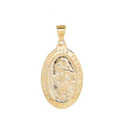 14K Gold St. Christopher Medallion Pendant