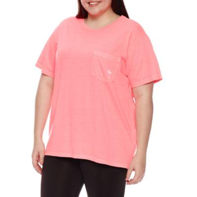"Flirtitude ""Flamin-go away"" Graphic T-Shirt- Juniors Plus"