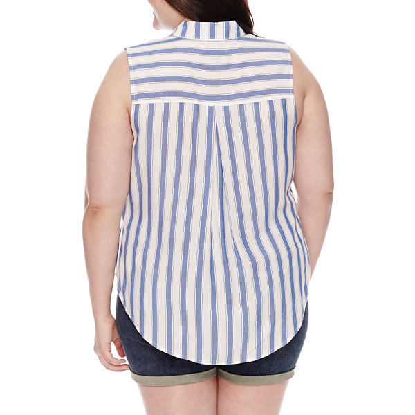 Arizona Sleeveless Stripe Button-Front Shirt-Juniors Plus