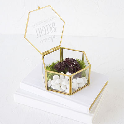Cathy's Concepts Shine Bright Gold Glass Keepsake Box