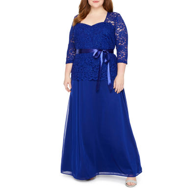 Onyx 3/4 Sleeve Evening Gown-Plus