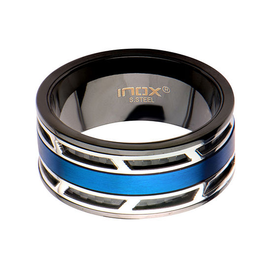 Mens Blue and Black Stainless Steel and Carbon Fiber Inlay Wedding Band