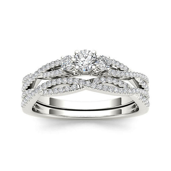 1/2 CT. T.W. Diamond 14K White Gold Crossover Bridal Ring Set