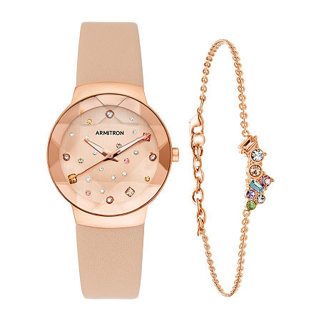 Armitron JCPenney Womens Crystal Accent Pink Leather 2-pc. Watch Boxed Set-75/5760rsrgst, One Size , No Color Family