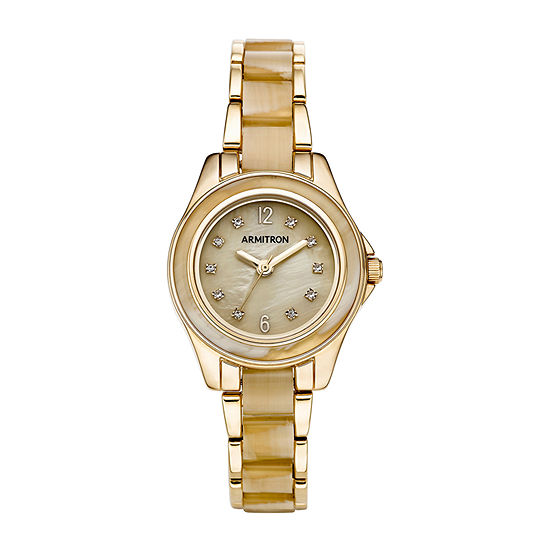 Armitron Womens Crystal Accent Gold Tone Bracelet Watch-75/5756cmgphn