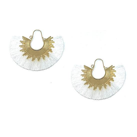 Bijoux Bar White Fringe Hoop Earrings