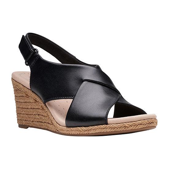 Clarks Womens Lafley Alaine Wide Width Wedge Sandals