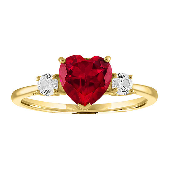 Womens Lab Created Red Ruby 10K Gold Heart Cocktail Ring