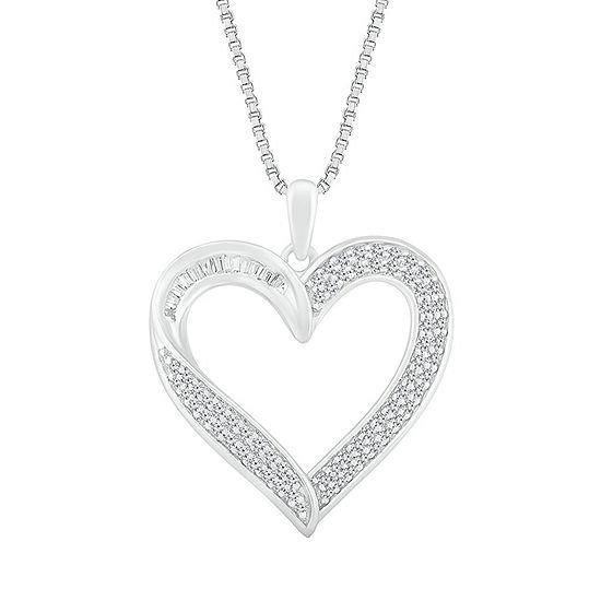 Womens 1/2 CT. T.W. Genuine White Diamond 10K White Gold Heart Pendant