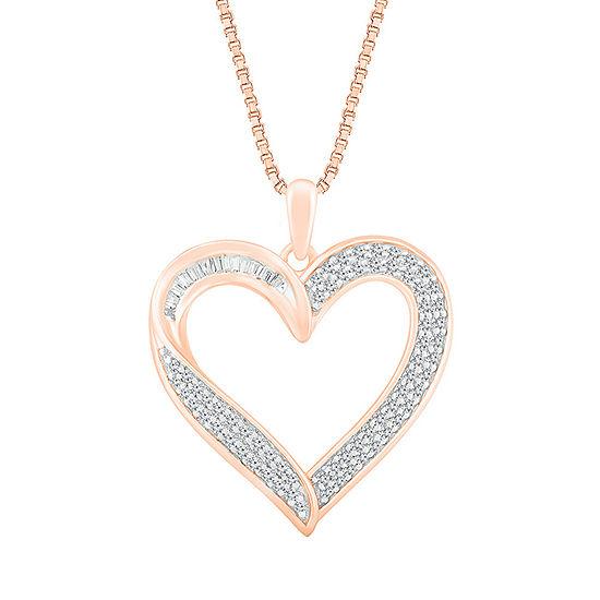 Womens 1/2 CT. T.W. Genuine White Diamond 10K Rose Gold Heart Pendant