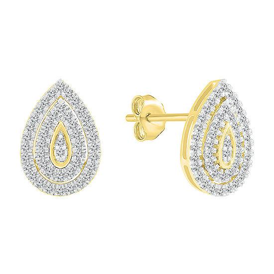 1/2 CT. T.W. Genuine White Diamond 10K Gold 14.4mm Pear Stud Earrings