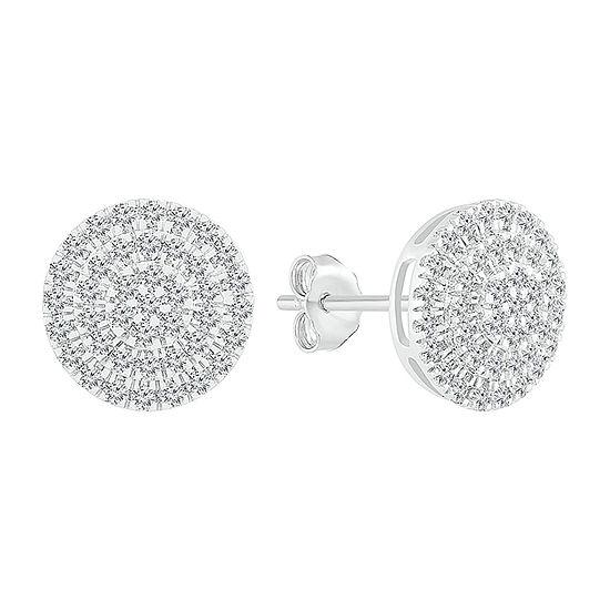 1/2 CT. T.W. Genuine White Diamond 10K White Gold 10.5mm Stud Earrings