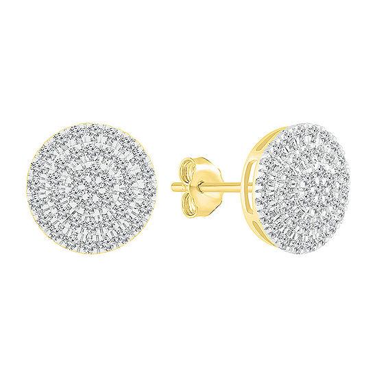 1/2 CT. T.W. Genuine White Diamond 10K Gold 10.5mm Stud Earrings