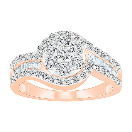 Womens 1 CT. T.W. Genuine White Diamond 10K Rose Gold Oval Cocktail Ring, 9