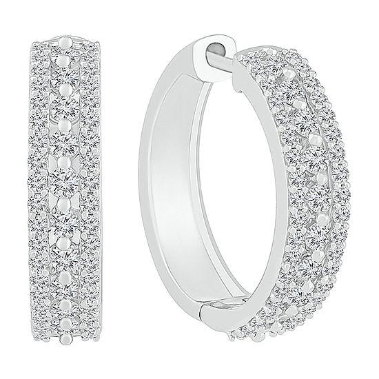 1 CT. T.W. Genuine White Diamond 10K White Gold 20mm Hoop Earrings