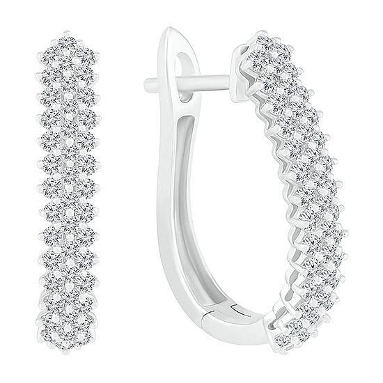 1 CT. T.W. Genuine White Diamond 10K White Gold 24mm Hoop Earrings