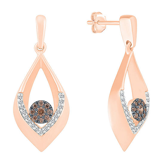 1/4 CT. T.W. Genuine Multi Color Diamond 10K Rose Gold Pear Drop Earrings