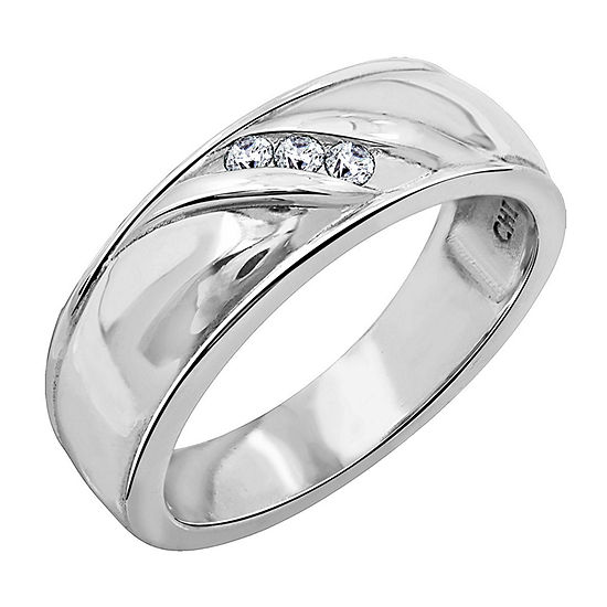 Mens 1/10 CT. T.W. Genuine Cubic Zirconia Sterling Silver Round Fashion Ring