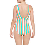 Arizona Womens Striped One Piece Swimsuit Juniors