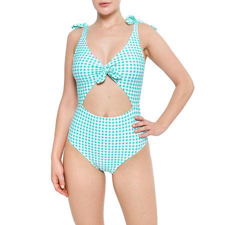Arizona Checked One Piece Swimsuit Juniors, Medium , Blue