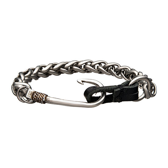 Inox Mens Jewelry Fish Hook Chn Br Stainless Steel 8 1/4 Inch Wheat Chain Bracelet