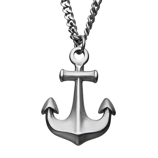 Inox Mens Jewelry Stainless Anchor Steel Pendant Necklace