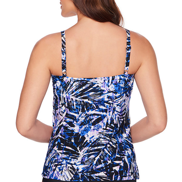 Trimshaper Slimming Control Abstract Tankini Swimsuit Top